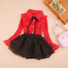 2019 Children Long Sleeve Blouses Chiffon Autumn Girls Pure Color Shirts Fashion Kids Turn-down Collar Tops Red Christmas Blouse girls plaid blouse 2019 spring autumn turn down collar teenager shirts cotton shirts casual clothes child kids long sleeve 4 13t