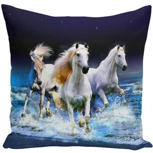 Image 3 - Throw Pillow Bts Case 45x45 Animal Print War White Horse Cushion Cover Sets for Chair Sofa Decorative Home Farmhouse Decor