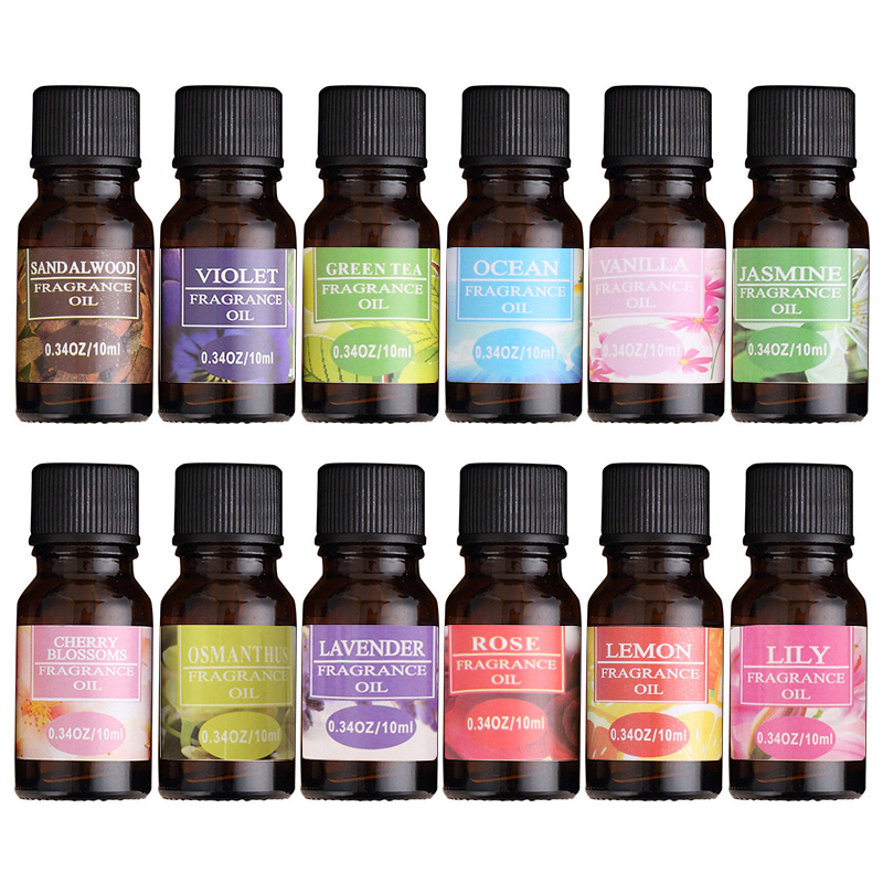 12Flavors 10ml Essential Oil Natural Aromatherapy Fragrance Essential Oil Rosemary Geranium Eucalyptus Relax Fragrance Oil TSLM2