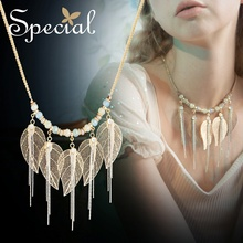 The SPECIAL New Fashion euramerican leaves tassel short neck chain temperament necklace for women, S1801N