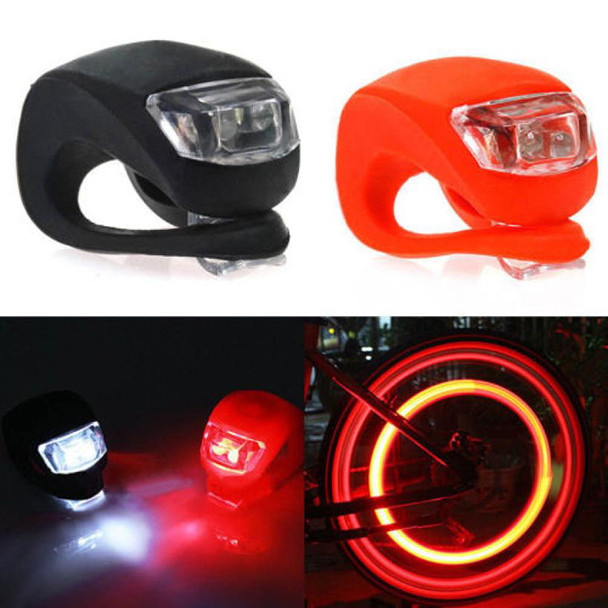 2pcs Silicone Bike Bicycle Cycling Head Front Rear Wheel LED Flash Light Lamp Safety bicicleta Bike accessories luz bicicleta