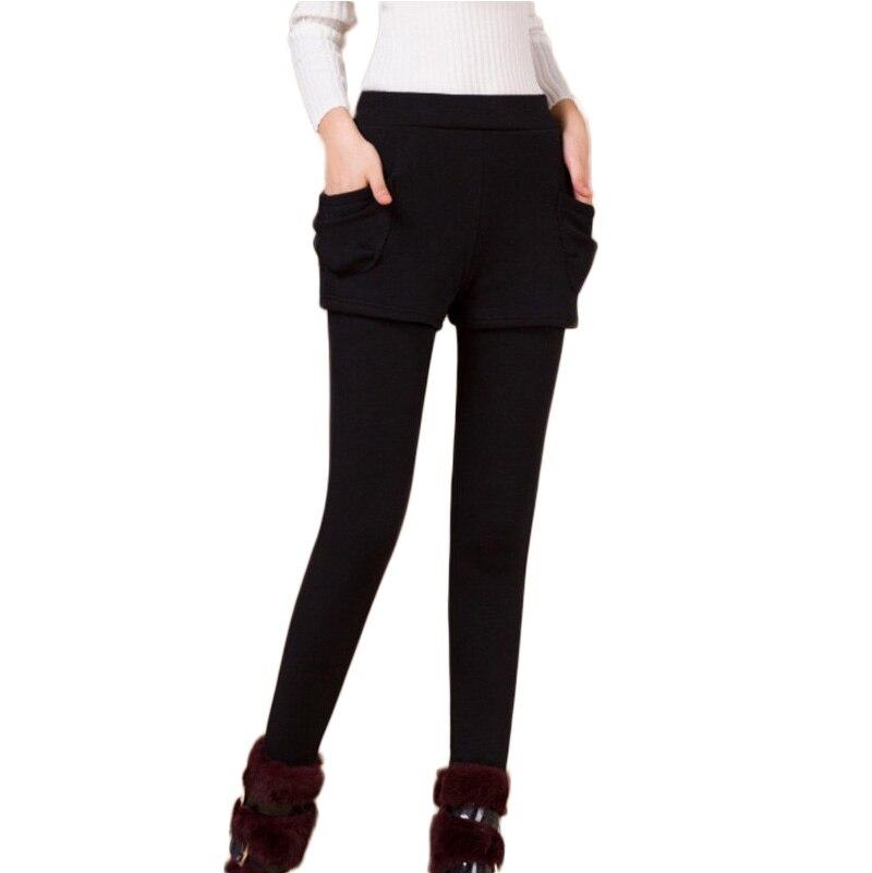 Pencil Pants Winter Autumn False Two-piece Pocket Legging Pantskirt Women Fashion Leggings With Mini Skirts Slim Fit