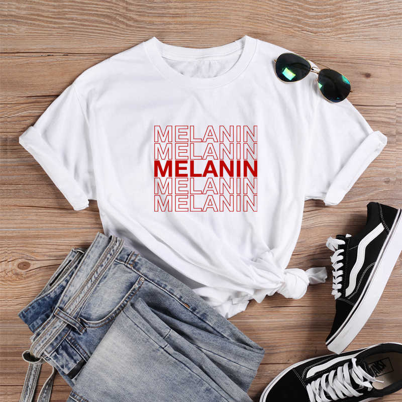 ONSEME Melanine Druipen T-shirt Feministische Tees Black Girl Magic T Shirts Vrouwen Streetwear Esthetische Tee Tops Drop Shipping
