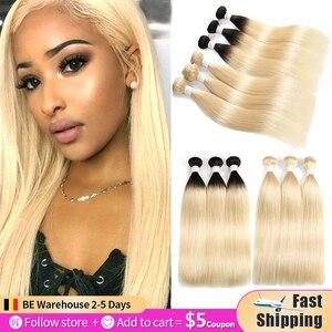 Image 1 - 613 בלונד ברזילאי ישר שיער טבעי חבילות 3/4pcs דבש בלונד שיער טבעי Weave חבילות Soku 100% רמי ombre שיער חבילות