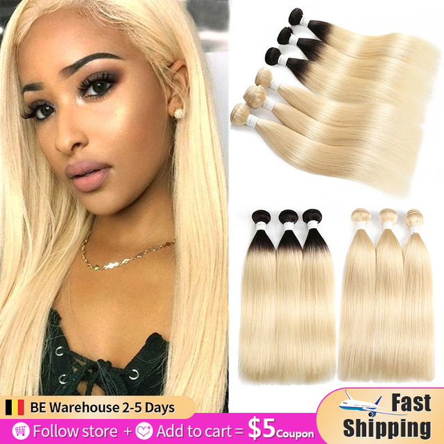 613 Blonde Brazilian Straight Human Hair Bundles 3/4PCS  Honey Blonde Human Hair Weave Bundles SOKU 100% Remy Ombre Hair Bundles