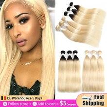 613 pacotes de cabelo humano em linha reta brasileiro blonde 3/4 pçs mel loira cabelo humano tecer pacotes soku 100% remy ombre feixes cabelo