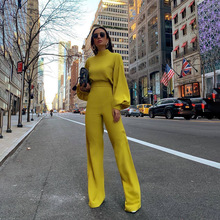 Fashion Casual Womens Jumpsuit 2019 New Solid Color High Collar Halter Long Sleeve Waist Slim Flared Pants