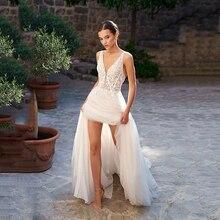 Beach Wedding Dresses A Line V Neck Ivory Lace Applique Dress Custom Made Boho Bridal Gowns Pincess abito da sposa