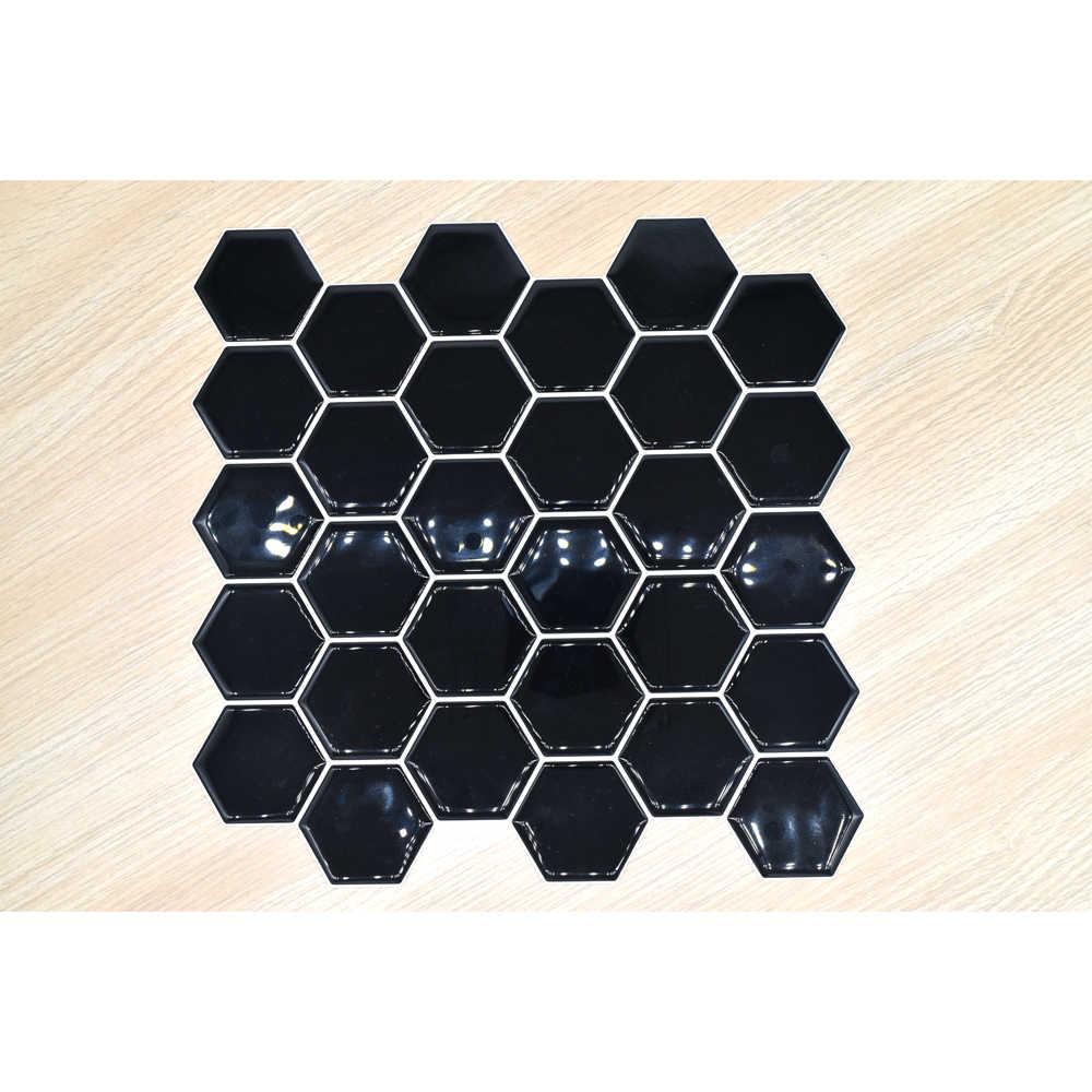 검은 육각형 3d 벽 모자이크 주방 스티커 비닐 벽지 지하철 타일 tv 배경 스틱 장식 홈 1 pc 295x295mm diy