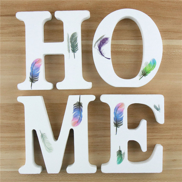 1pc 10cm Wooden Letters Alphabet Name Word Letter Standing Feather DIY Design Height Art Crafts Home Party Decor 3.94 Inches 1