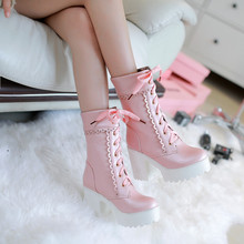 New Japanese sweet Platform Short Boots Lolita boots Rough heel High-heeled Korean Harajuku Style Heavy-Bottomed Lolita Shoes