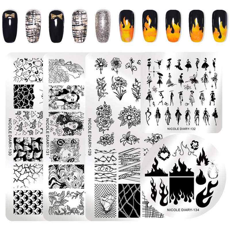 NICOLE DIARY Fire Flower Design Stamp Plates Nail Art Stamping Template Stainless Steel Grid Marble Nail Art Stencil Tools