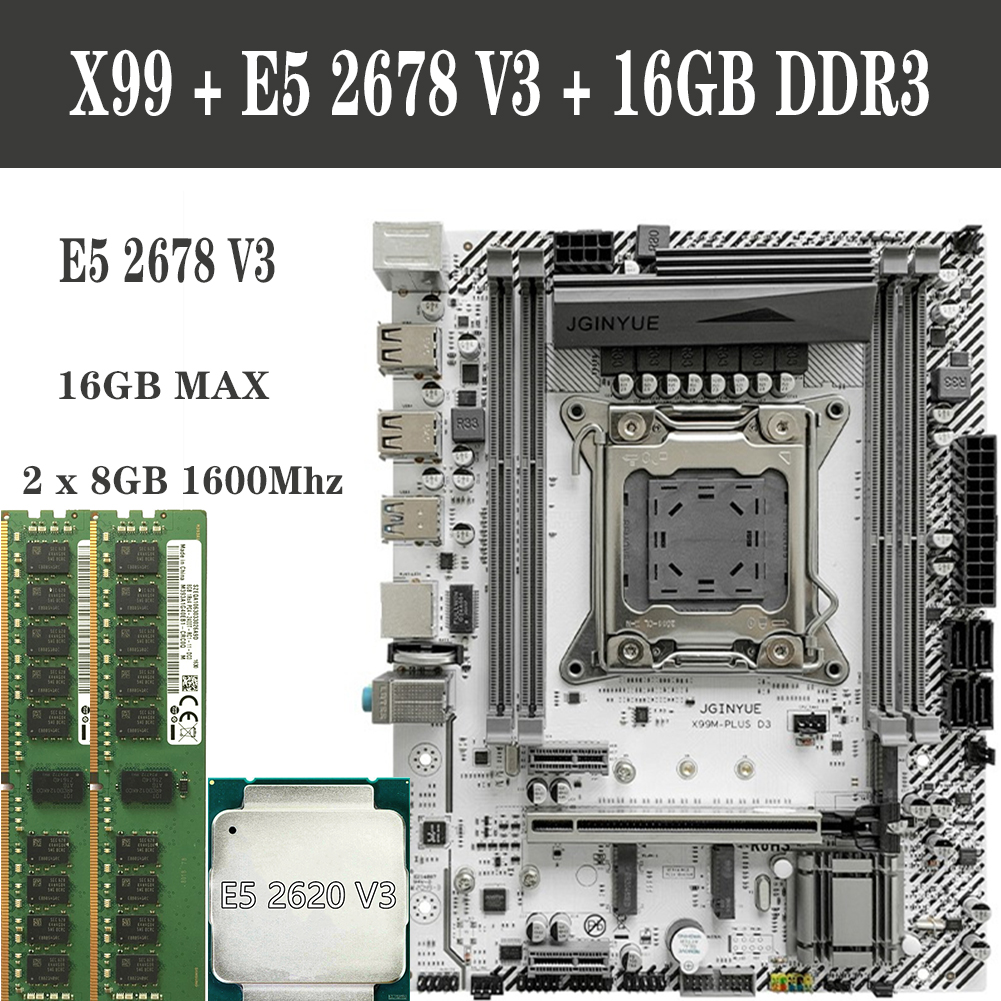 Higher Performance Computer Set X99 motherboard LGA 2011 V3 Socket For Intel CPU E5 2678 V3 WIth DDR3 ECC 1333Mhz 16GB Combine|Motherboards| - AliExpress
