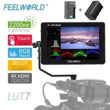 FEELWORLD LUT7 מגע מסך 2200cd/m 3D LUT DSLR צג 4K HDMI 7 אינץ מלא HD 920x1200 IPS תצוגת שדה צג עבור מצלמה