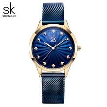 Shengke kol saati kadın moda paslanmaz çelik kuvars saatler bilezik saat Relogio Feminino 2018 SK lüks bayan saatler