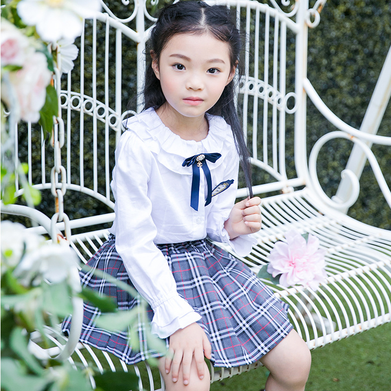 Kindergarten Suit Spring And Autumn England Children School Uniform Girls Gray Plaid Skirt Primary School STUDENT'S Business Att