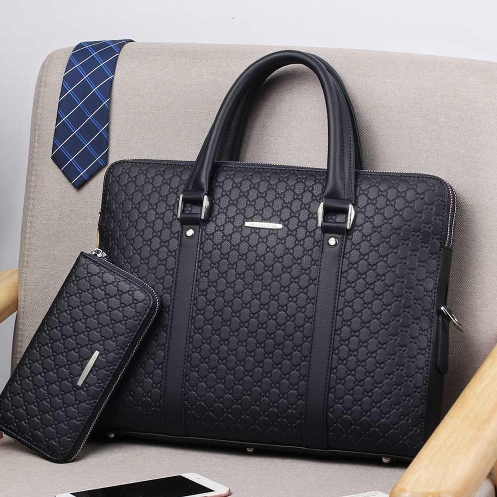 Ha2d621283e0b4a3ba6597343073864b8R New Double Layers Men's Leather Business Briefcase Casual Man Shoulder Bag Messenger Bag Male Laptops Handbags Men Travel Bags