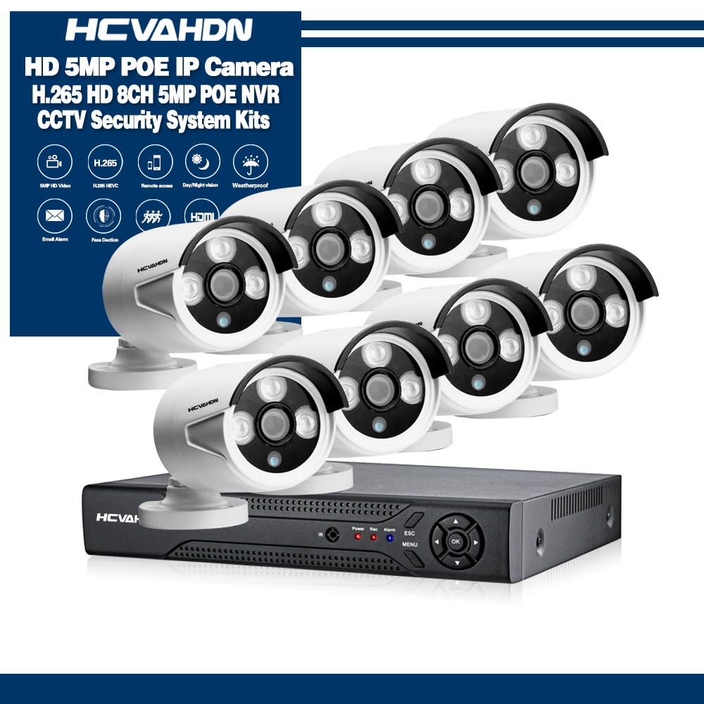 HCVAHDN 5MP 8CH POE NVR Camera System H.265 Motion Detection Monitor 4.0MP POE IP Bullet Camera HDMI VGA Output Xmeye APP View|Surveillance System|Security & Protection - title=