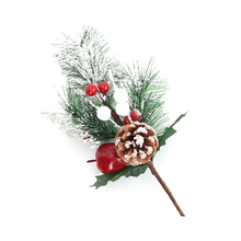 1PC Artificial Flower Pine Needles Red Berry Cone Branch For Holiday Christmas Tree Ornaments Decor Crafts