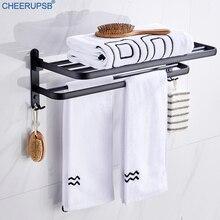 מגבת אמבטיה מתלה מגבות מחזיק רחצה שחור מתלה מקלחת מטלטלין בגדי מדף שירותים מלון קיר מתקפל תמיכה שירותים קולב K03