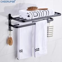 Towel Rack Bathroom Towels Holder Washroom Black Rack WC Movable Clothes Shelf Hotel WC Wall Folding Support Restroom Hanger K03
