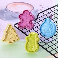 4 шт./компл. Рождество формочки для печенья штамп Пластик 3D торт Плунжер для печенья прессформы DIY торт выпечки инструменты
