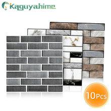 Kaguyahime 3D Self-Adhesive Wall Stickers 10pcs DIY Stone Pattern Wallpaper Waterproof Wall Panel Home Decor Wall Paper 30x30