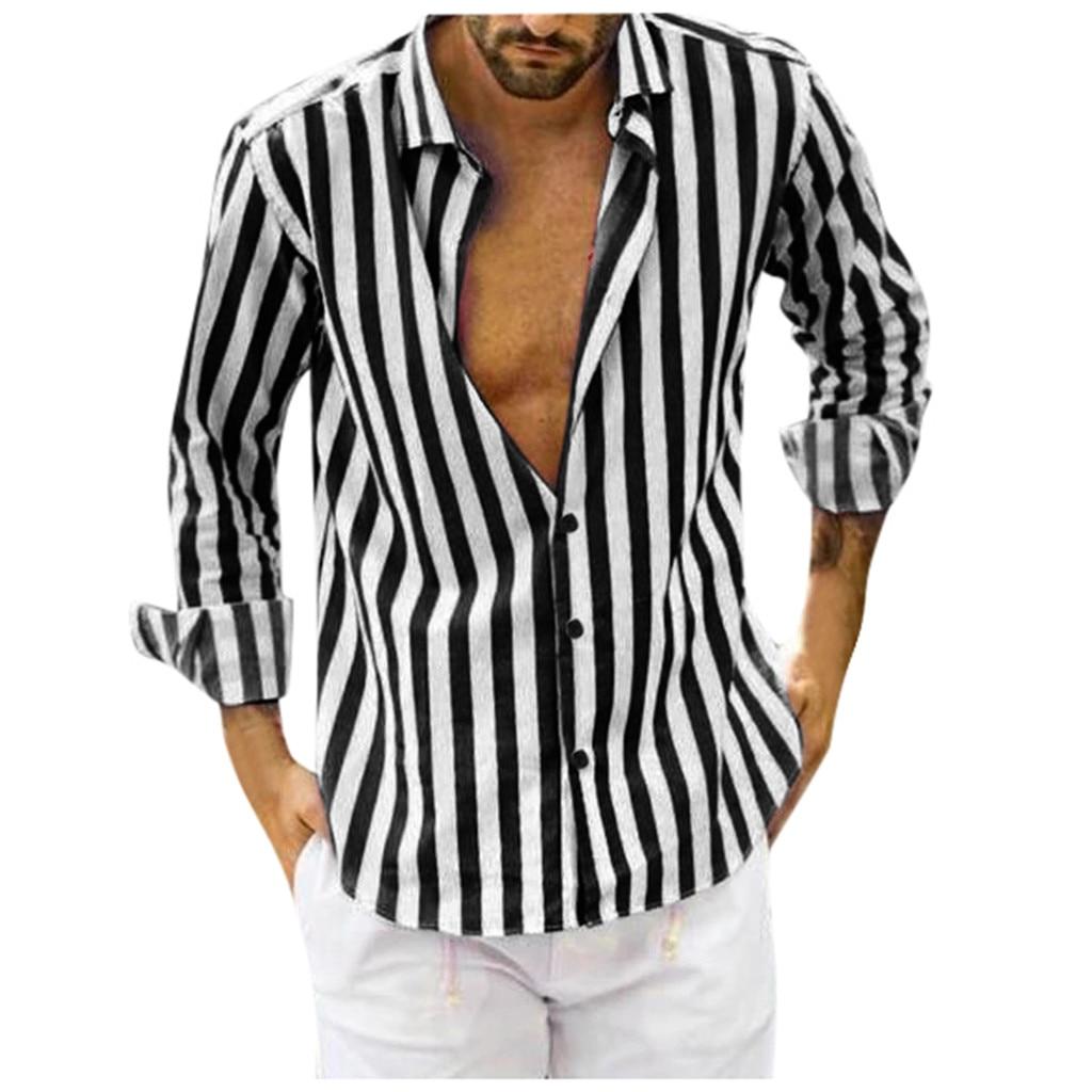 Men's Winter Shirt Men Fashio Vertical Striped Slim Fit Long Sleeve Casual Button Down Dress Shirts Shirt Men Casual