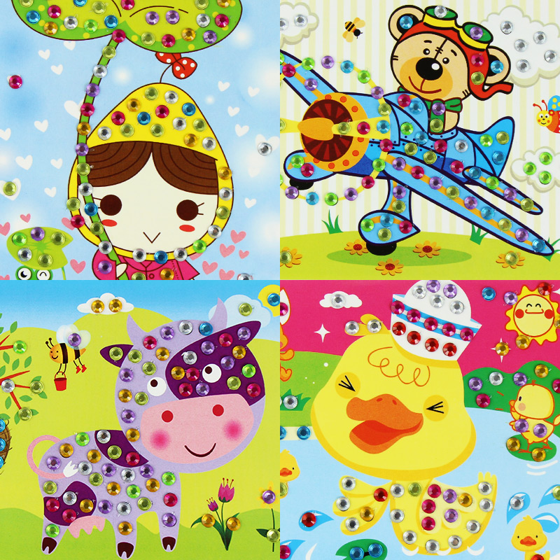 Children's Bright Diamond Paste Paper Paste Crystal Acrylic Diy Hand-made Parent-child Toy Cartoon