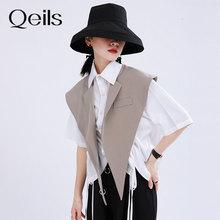 Split-Joint-Vest Spring Loose Khaki Black Vintage Women Fashion Summer Sleeveless New