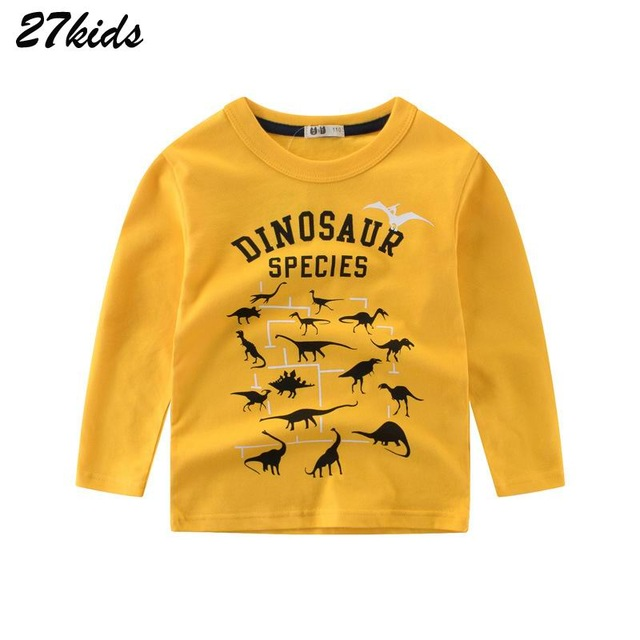 27Kids 2-9Year Cartoon <font><b>Dinosaur</b></font> Boys Long Sleeve <font><b>Tshirt</b></font> Spring Boy T Shirts for Children Kids Full Length Clothing Cotton Top image