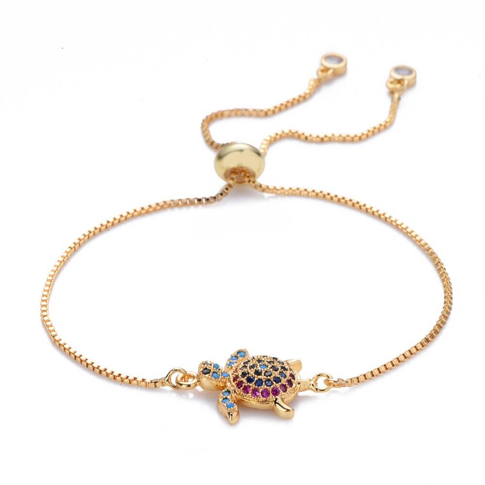 Quente feminino ouro arco-íris mar tartaruga pulseiras & pulseiras jóias cz zircon pulseira ajustável corrente pulseira acessório femme