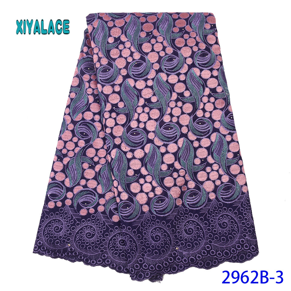Nigeria Cotton Lace Fabric High Quality African Embroidery Lace Fabric Wedding Dress With French Tulle Lace Material YA2962B-3