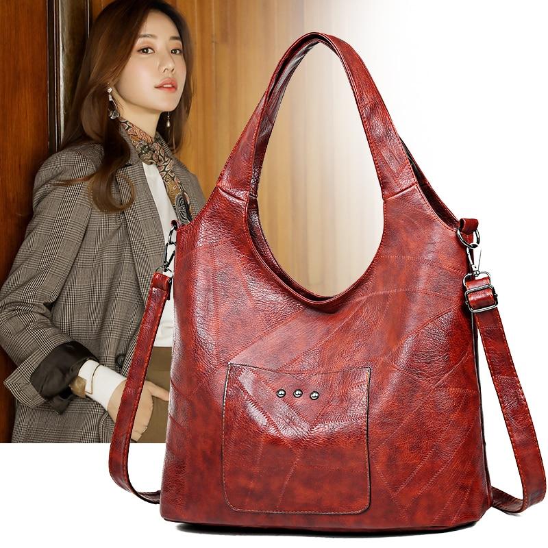 Vintage Women Shoulder Bags Female Handbags Soft Patchwork Leather Crossbody Messenger Bag Ladies Large Casual Totes Hobos Bag