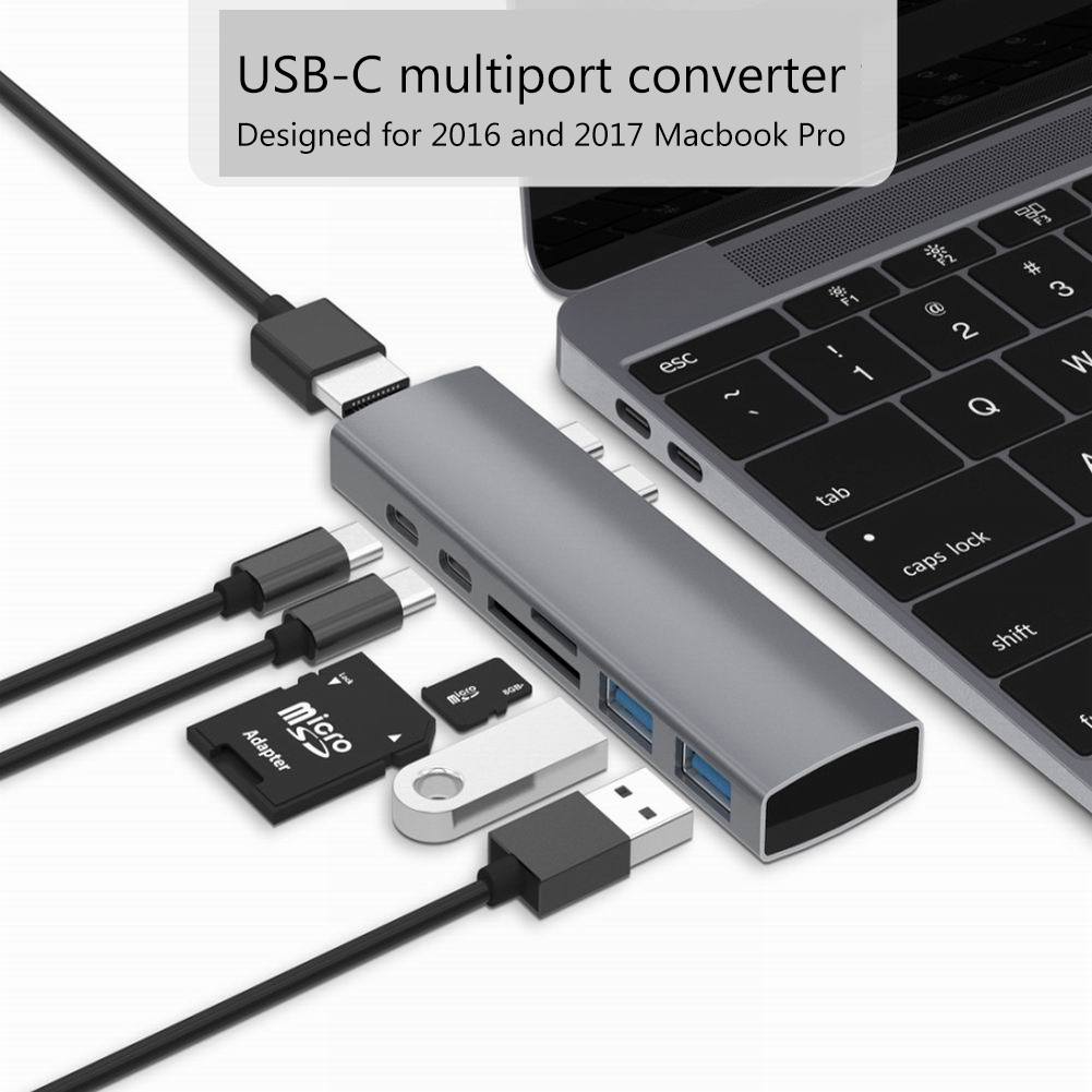 USB-C Multiport Converter Precision Milled Aluminum Housing Dual Type-c Hub USB-C To HDMI Converter Splitter Aluminum + ABS