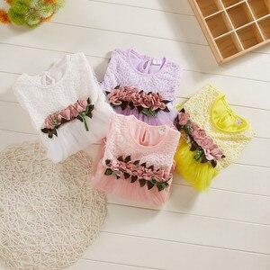 Платье в Корейском стиле для маленьких девочек; Сетчатое платье принцессы с короткими рукавами и цветочным рисунком; Летнее платье для маленьких девочек; 50 *