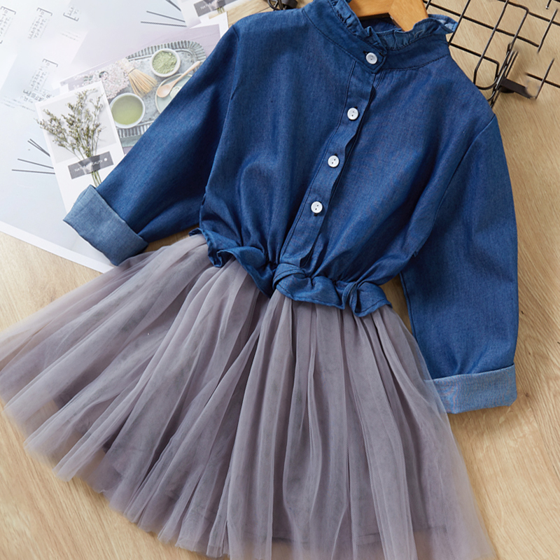 Menoea Children Clothing Suits 19 Autumn Fashion Style Girl Cowboy Long-Sleeve Mesh Dress Design For 3-8Y Kids Girls Sets 22