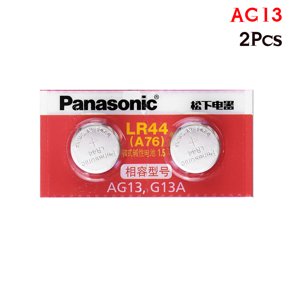 Panasonic 2pcs LR44 AG13 LR 44 Pilas Watch Clock Button Coins Batteries 120mah Zinc Cell For Hearing Aid Remote Control Game Toy