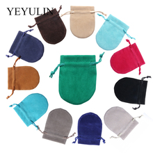 10Pcs/lot Colorful Drawstring Velvet Bag Jewelry Packaging Pouches Gift Bags Can Customized