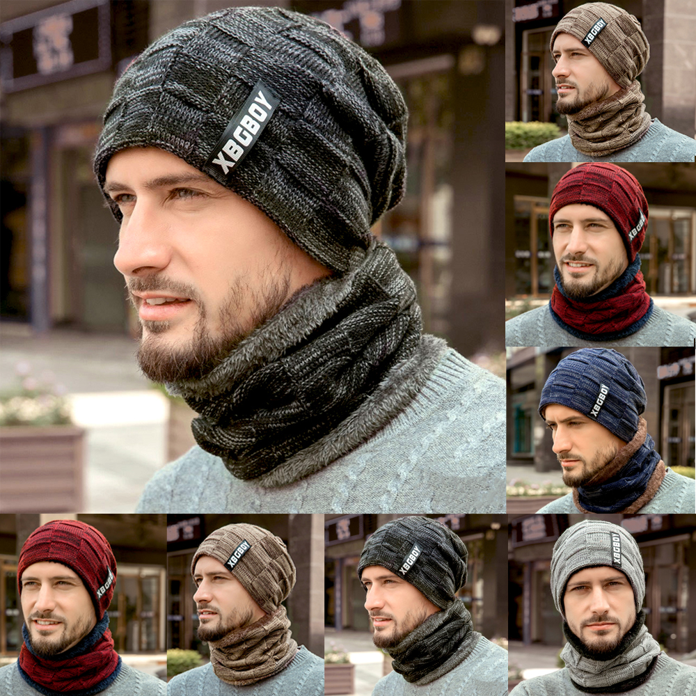 Hirigin Men Winter Warm Knitting Beanie Hat Scarf Set Thicken Neck Warmer Ski Cap