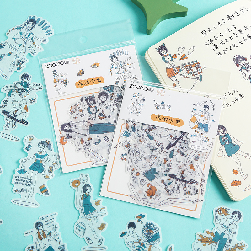 Mohamm 40 Pcs Floating Girl Series Cute Diary Journal Stationery Flakes Scrapbooking DIY Decorative Stickers