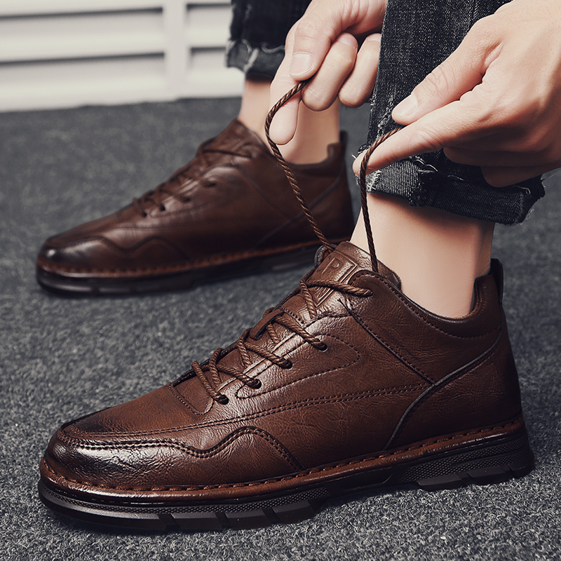 England Luxury Leather Shoes Men Formal Dress Fashion Oxfords Spring Autumn Low-cut Lace-up Non-slip Outdoor Mens Shoes *3068