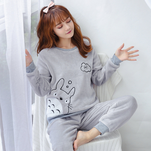 Image 1 - korean Flannel Warm Pajamas for Women Long Sleeve Home Suit Ladies sleepwear cartoon Velvet Pajama set Thick Feminino Pyjamas