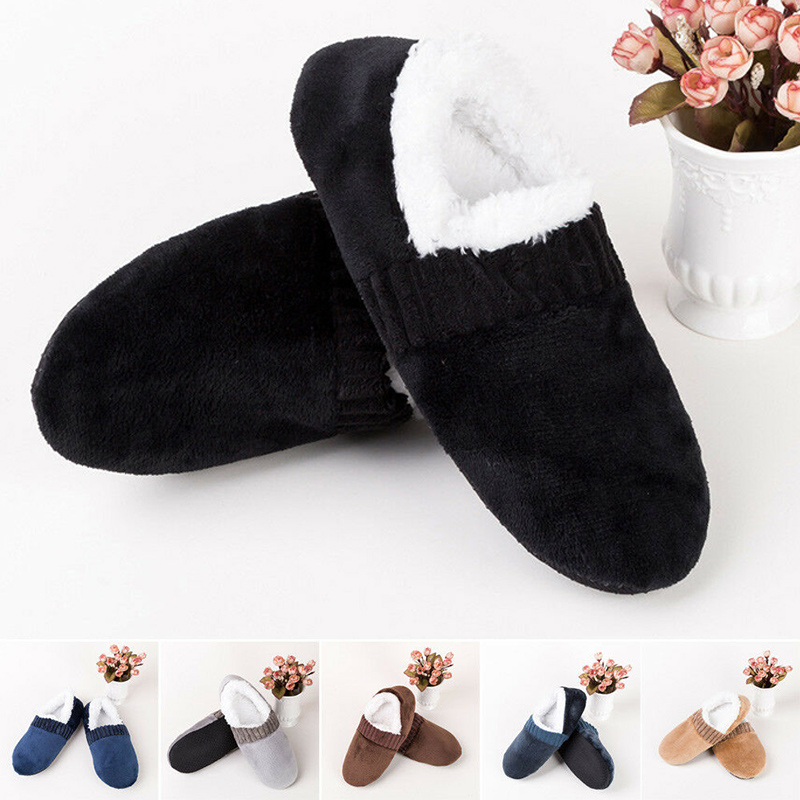 2019 Men Soft Breathable Slippers Anti-Slip Indoor Winter Warm Thick Plush Slippers Solid Color Shoes Male One Size (40-45)