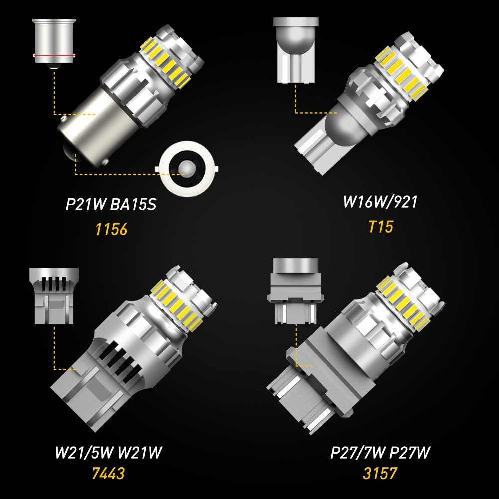 2Pcs P21W Led BAY15D PY21W BA15S Rem Reverse Lampu Mobil P21/5 W Auto Turn Sinyal Lampu 1156 t20 W16W T15 W21/5 W 7443 W21W 7440