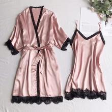 2019 Women Pajamas Sets 2 Pieces Satin Sleepwear Spaghetti Strap Lace Silk Sleep