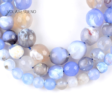 """цена Natural Faceted Blue White Fire Agates Stone Round Loose Beads For Jewelry Making 6-10mm Spacer Beads Fit Diy Bracelet 15""""Strand онлайн в 2017 году"""