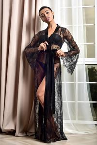 Халат-кимоно женский кружевной прозрачный, Эротическая Длинная Ночная сорочка с длинным рукавом, бикини, пляжный халат, Халат