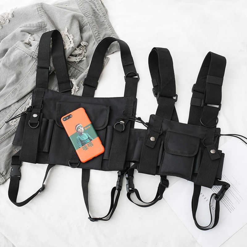 Fungsional Taktis Dada Casing untuk Pria Fashion Peluru Hip Hop Rompi Streetwear Tas Pinggang Pack Wanita Hitam Dada Rig Tas