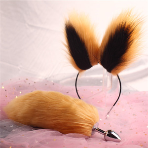 Sexy Short Solid Color Fox Tail Butt Plugs Ladies Cosplay Costumes with Cute Headdresses Couple Life Flirting Accessories